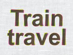 Tourism concept: Train Travel on fabric texture background - stock illustration