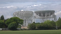 Lovell Telescope and Mark 2 - Jodrell Bank Space Research Centre Stock Footage