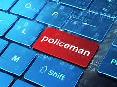 Law concept: Policeman on computer keyboard background - stock illustration