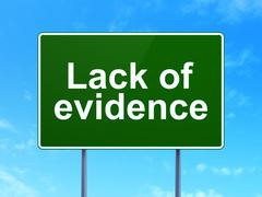 Law concept: Lack Of Evidence on road sign background - stock illustration