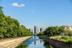 Dambovita River In Bucharest - stock photo