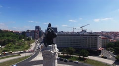 Lisbon Marquis of Pombal aerial view  Stock Footage