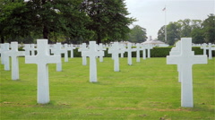 Headstones at The Cambridge American Cemetery, England Stock Footage