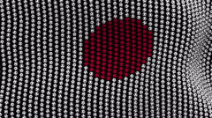 Colored soccer balls forming fabric Japan flag. Black screen. Stock Footage