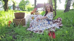 Beautiful Russian girl in the decoration Stock Footage