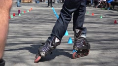 Freestyle inline skaters in action at the NYC Central Park. USA. Stock Footage
