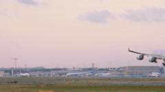 Etihad airbus 340 landing at early morning Stock Footage