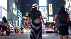 Downtown New York City Times Square with pedestrians and traffic 4k Stock Footage