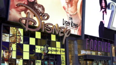 Disney store in Times Square New York City 4k Arkistovideo