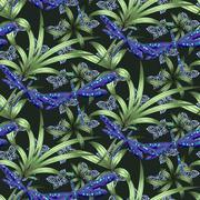 Abstract indigo blue batik flower pattern Stock Illustration