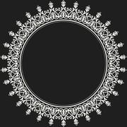 Floral Modern Round Frame - stock illustration