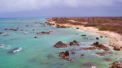 Aerial from the west coast from Aruba Island in the Caribbean Stock Footage