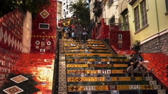 Time lapse of tourists at selaron steps in rio de janeiro Stock Footage