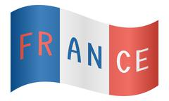 French flag waving with word France on white Stock Illustration