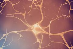 Neurons in the beautiful background. 3d illustration of a high quality Stock Illustration