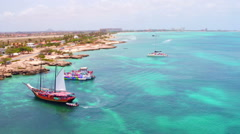 Aerial from the west coast from Aruba Island in the Caribbean - stock footage