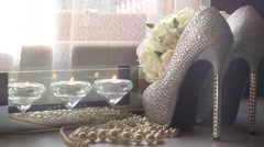 Wedding bridal shoes with light leaks - stock footage