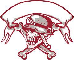 Skull Bike Helmet Crossed Bones Ribbon Retro - stock illustration