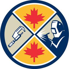 Canada Millwright Caliper Welder Maple Leaf Circle Retro. - stock illustration