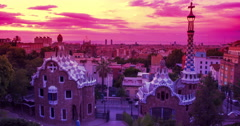Park Guell designed by Antoni Gaudi in Barcelona. Sunrise in Barcelona Stock Footage
