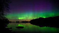 Bjoergvin | Aurora dancing over Storevatnet Stock Footage