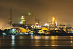 Pulp mill on Puget Sound waterfront at night, Tacoma, Washington State, USA Stock Photos