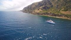 Fishing boat California island Stock Footage