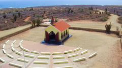 Aerial from the Alto Vista chapel on Aruba island in the Caribbean Stock Footage