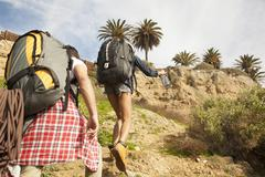 Two friends on trek together Stock Photos