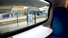 Empty train seats blue interior Stock Footage