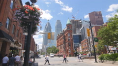 Church and Front streets with flatiron building. Toronto, Canada. Stock Footage