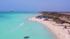 Aerial from kite surfing at Fisherman Huts on Aruba island in the Caribbean Sea Stock Footage
