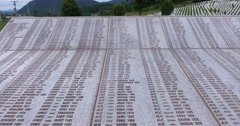 The panels with the names of the murdered men and boys of Srebrenica Stock Footage