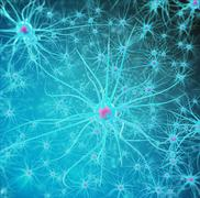 Neural network, brain cells, nervous system. 3d illustration Stock Illustration
