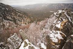 Snow covered rocks and mountains, Sarsy Village, Sverdlovsk Oblast, Russia Kuvituskuvat