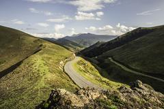 View of rural roads, Saint-Michel, Pyrenees, France (Near the Spanish-French - stock photo