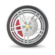 Car wheel isolated on white background. 3d illustration Stock Illustration