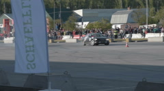 Paired car drift show Stock Footage