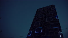 Colorful Illuminated Show of Squares on Building Stock Footage