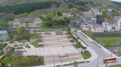 Former Hakodate public hall aerial shoot - stock footage