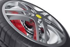 Car wheel close-up view with focus effect. 3d illustration Stock Illustration