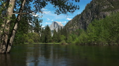 Merced river and half dome in yosemite national park Stock Footage