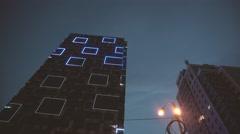 Amazing Illuminative Show Happening on Skyscraper Stock Footage