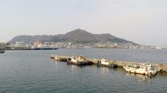 Hakodate bay aerial shoot Stock Footage