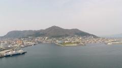 Hakodate bay aerial shoot - stock footage