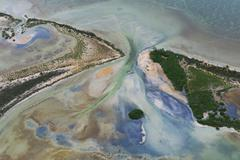 Aerial view of coast and sea at Sian Ka'an natural reserve, Quintana Roo, Mexico Stock Photos