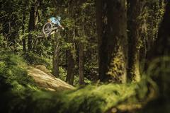Young male mountain biker jumping mid air in forest - stock photo