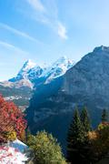 Snow scene of alpes mountains in swiss Stock Photos