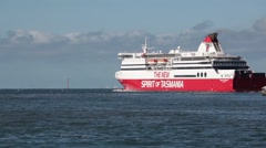 Sped up static shot of The New Spirit Of Tasmania vessel sailing Stock Footage