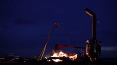 Bonfire. Fireplace. Samovar. Ax. Wind. Sparks Stock Footage